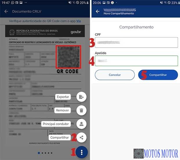 Compartilhar CRLV no aplicativo Digital
