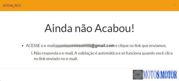 Confirmar e-mail cadastro Acesso Cidadão