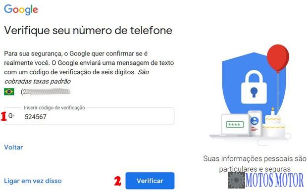 Código de Verificação do Gmail