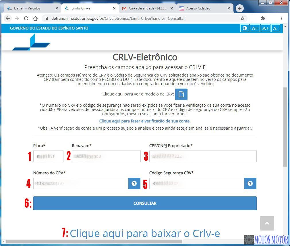 Preencher Formulário Para Baixar o CRLV eletrônico