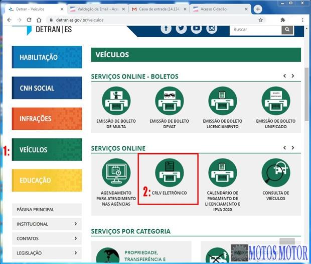 Portal Detran-ES imprimir CRLV